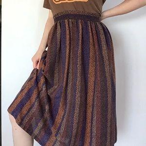midi brown striped skirt